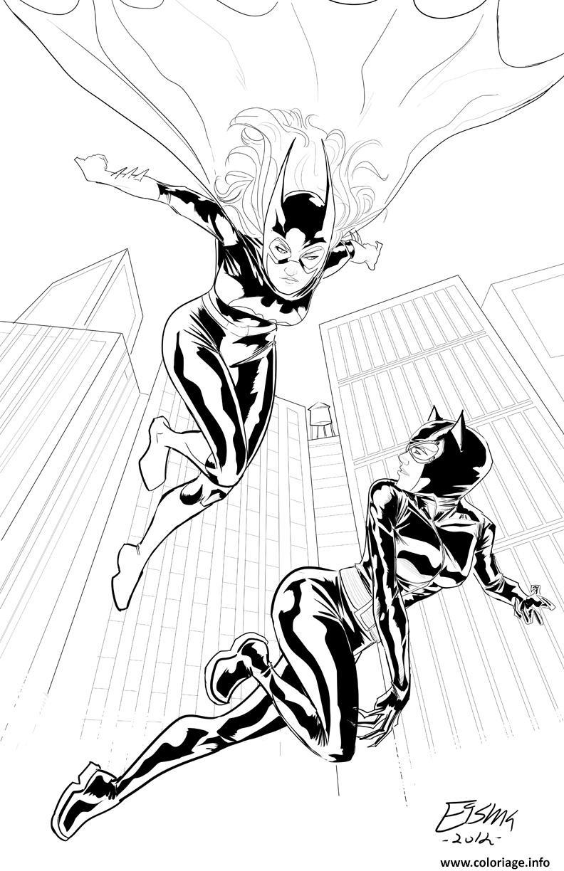 Dessin batgirl catwoman cherchent wonder woman Coloriage Gratuit à Imprimer