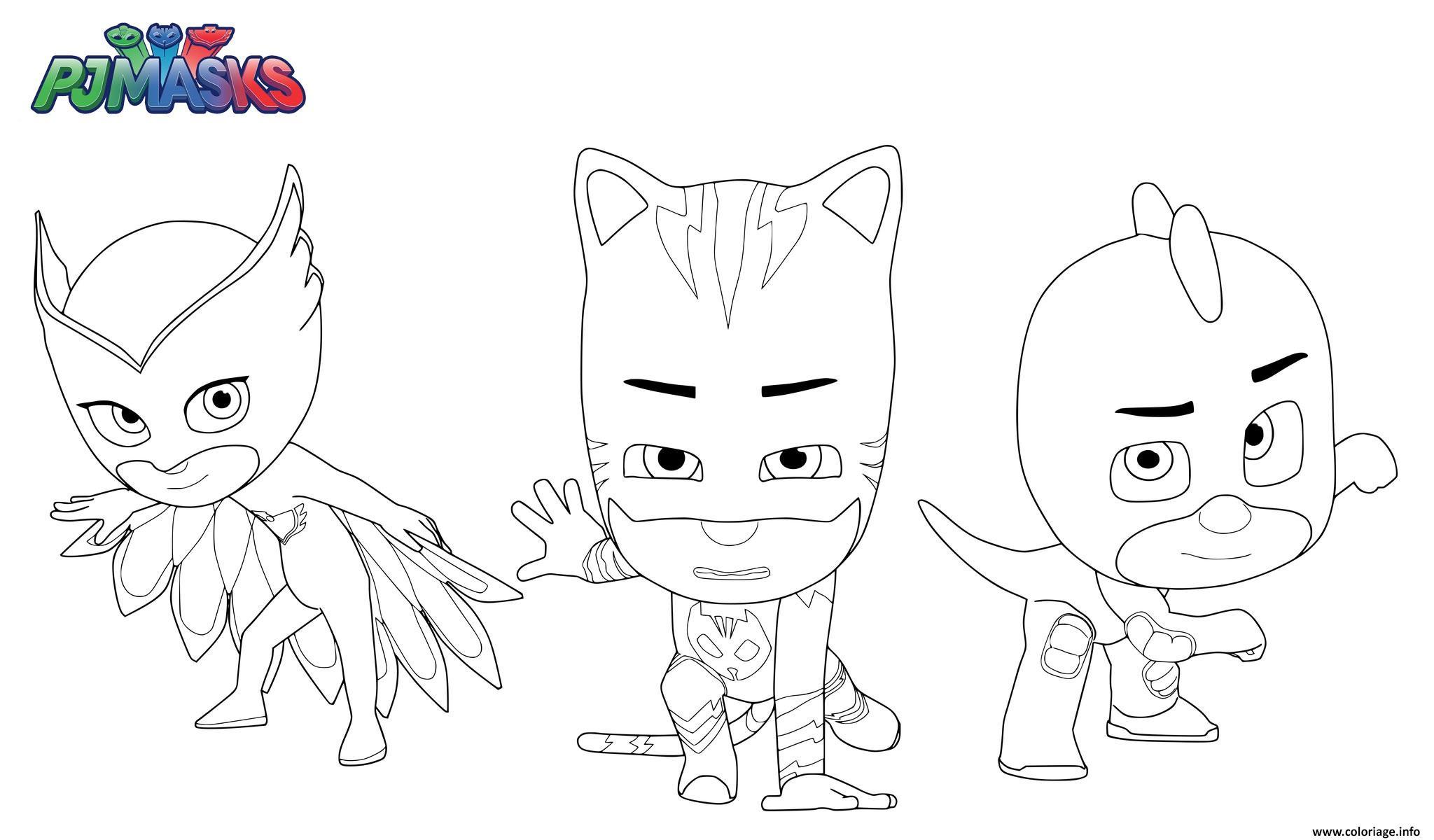 Coloriage Pyjamasques Pj Masks Superheros Gluglu Bibou Yoyo Dessin
