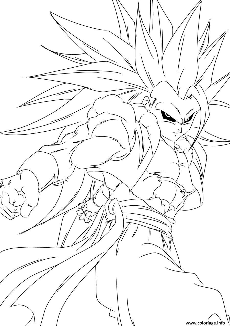 Coloriage dragon ball z sangoku super sayen - Dessin sangoku ...