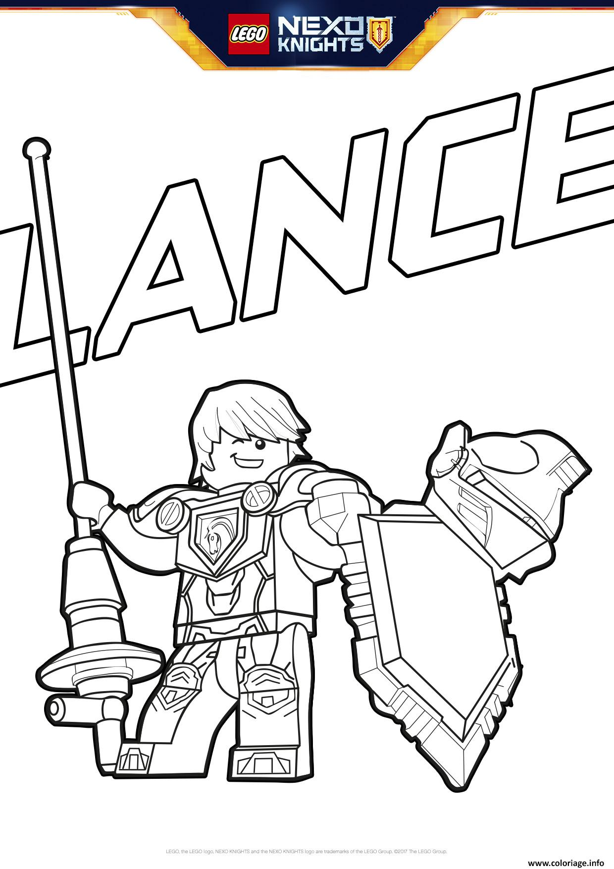 coloriage lego nexo knights bouclier lance  jecolorie