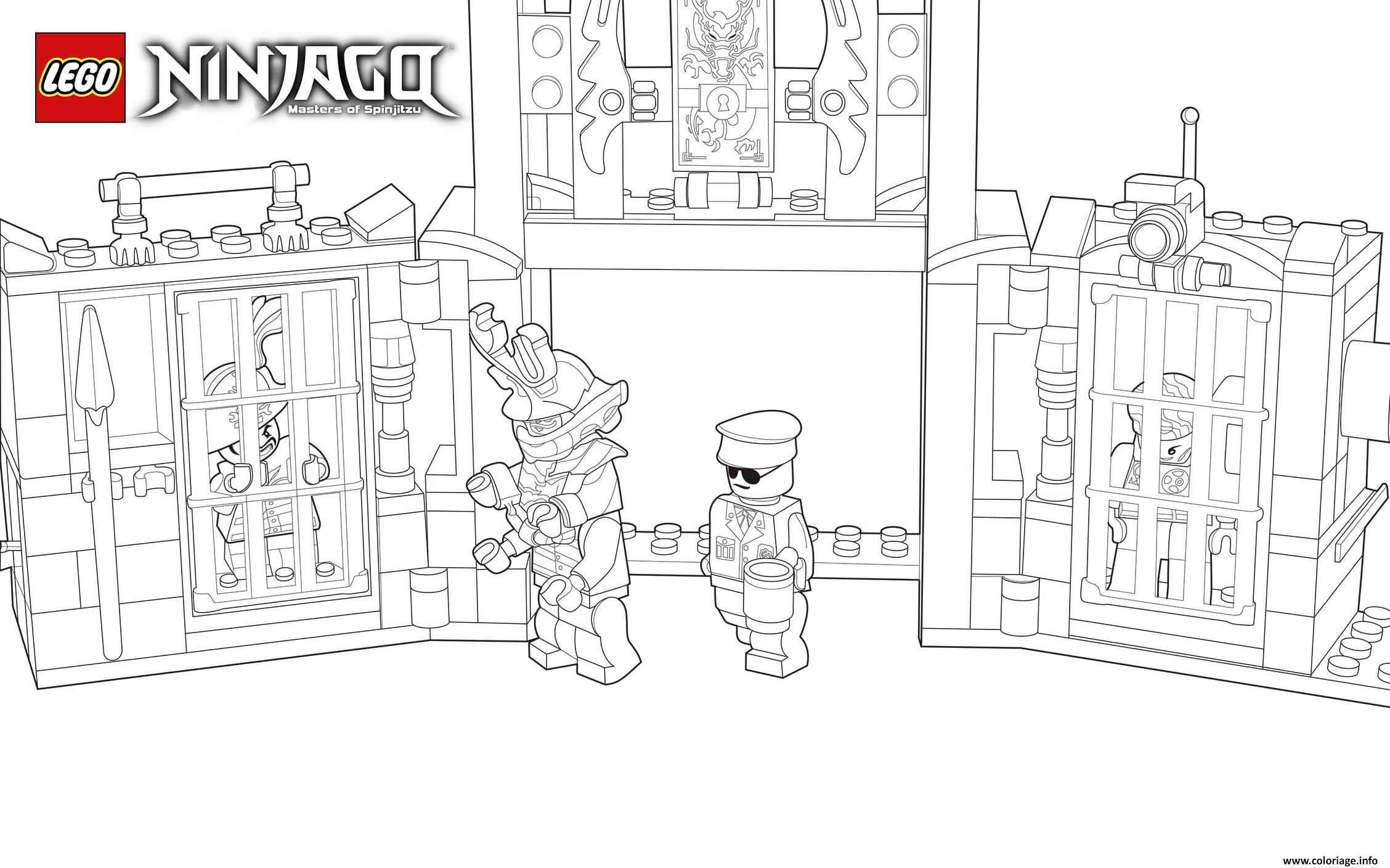 Dessin lego ninjago police et prisoniers Coloriage Gratuit à Imprimer