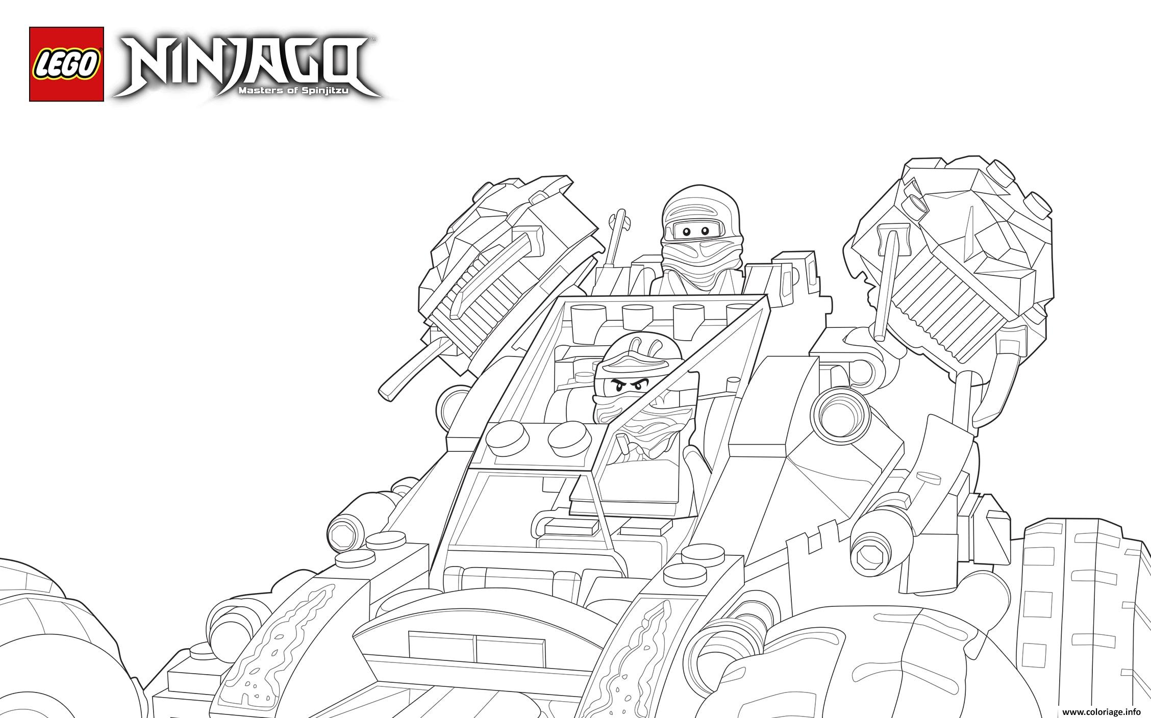 Dessin Lego Ninjago cole Jay tank Coloriage Gratuit à Imprimer