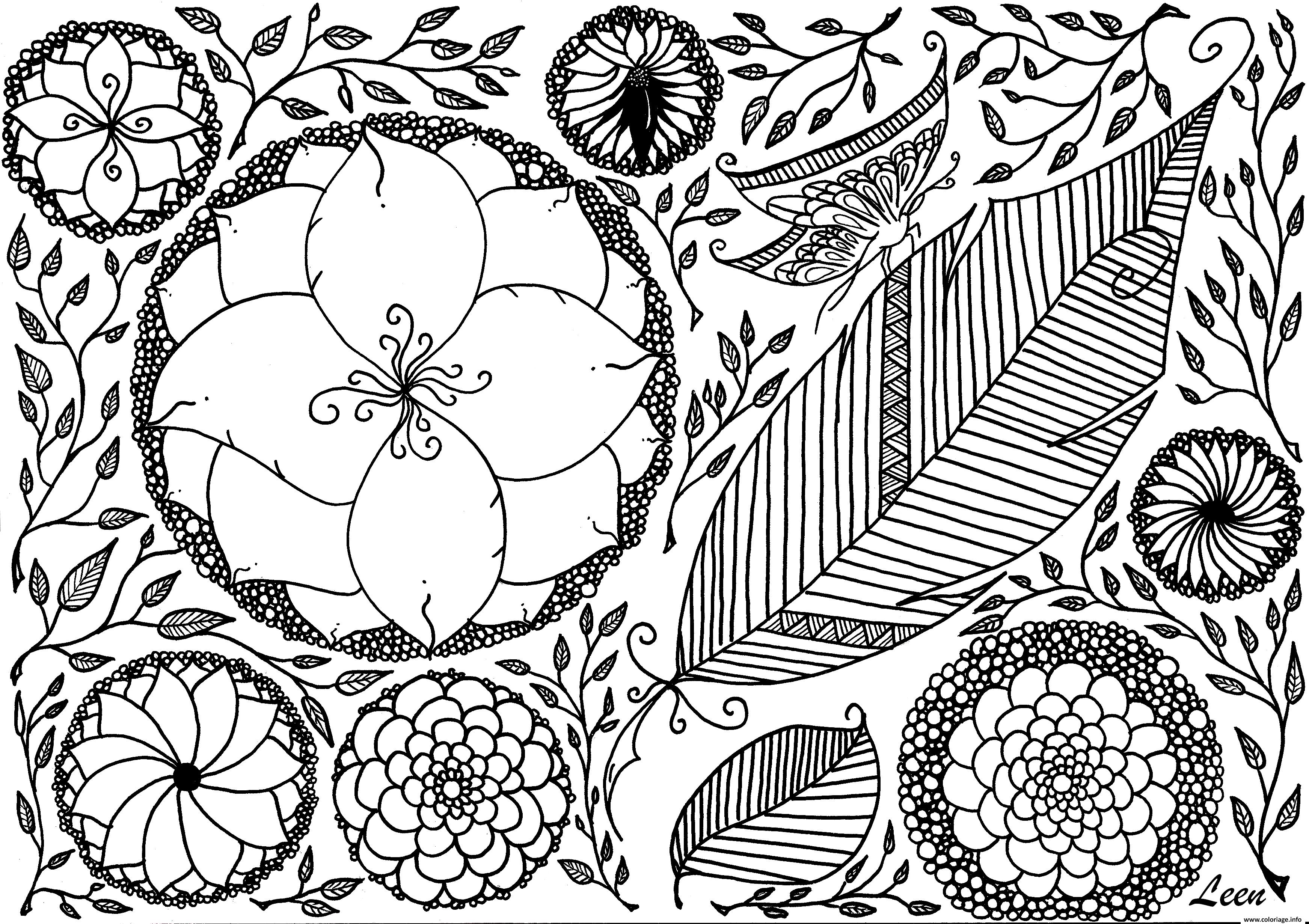Coloriage Printemps Fleurs Papillon Roses Adulte Zen Dessin