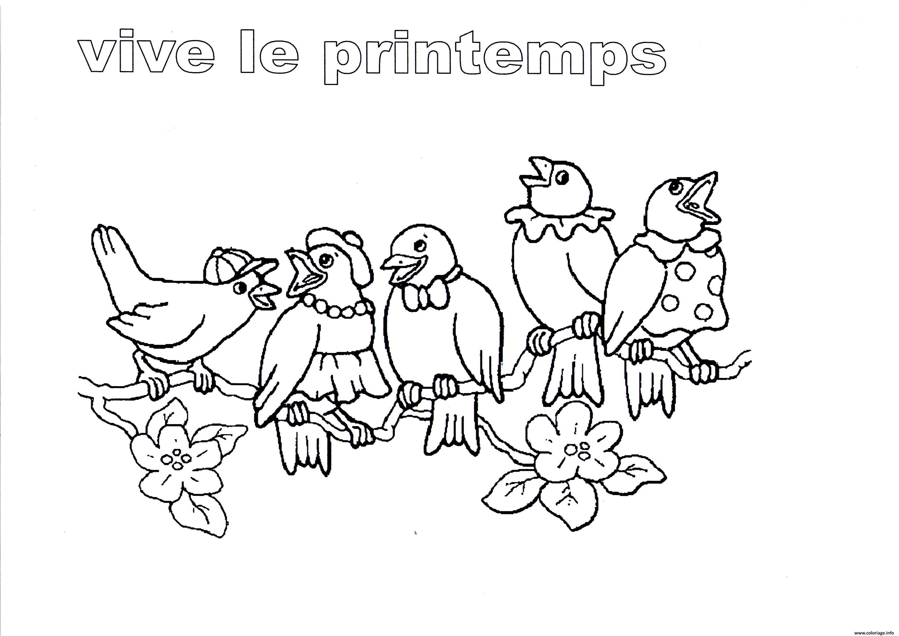 Coloriage Vive Le Printemps Maternelle Oiseaux Dessin
