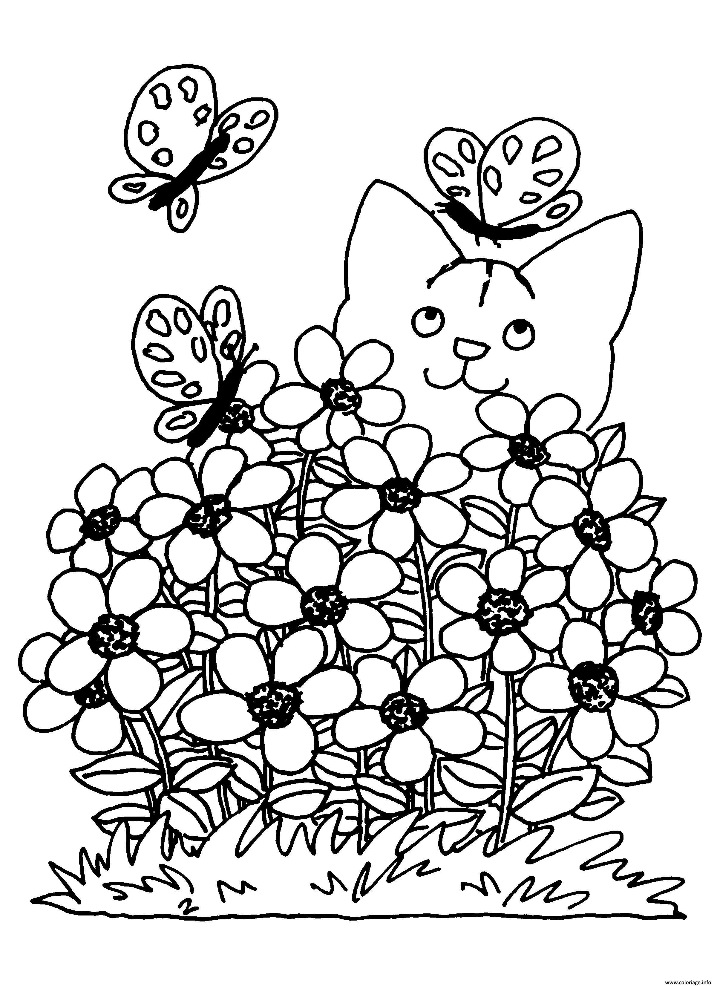 Coloriage Printemps Gratuit.Coloriage Printemps Chat Fleurs Dessin