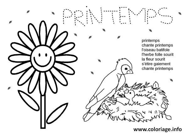Coloriage printemps chant fleurs oiseau dessin - Dessin fleurs printemps ...