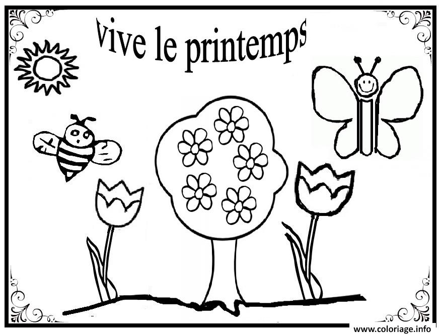Coloriage vive le printemps maternelle simple dessin - Dessin de printemps a imprimer ...