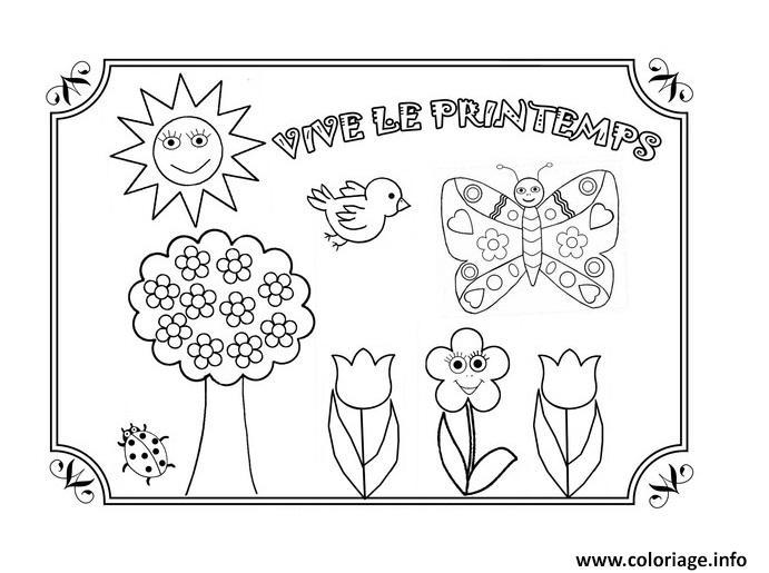 Dessin vive le printemps maternelle Coloriage Gratuit à Imprimer