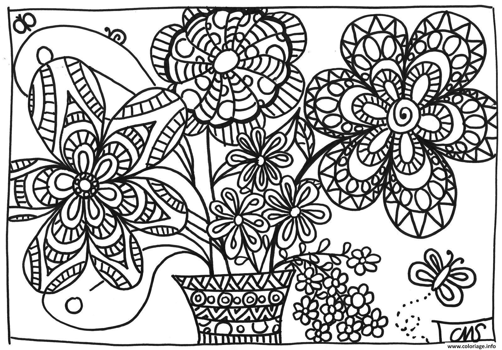 Coloriage De Printemps Maternelle.Coloriage Printemps Fleurs Adulte Dessin