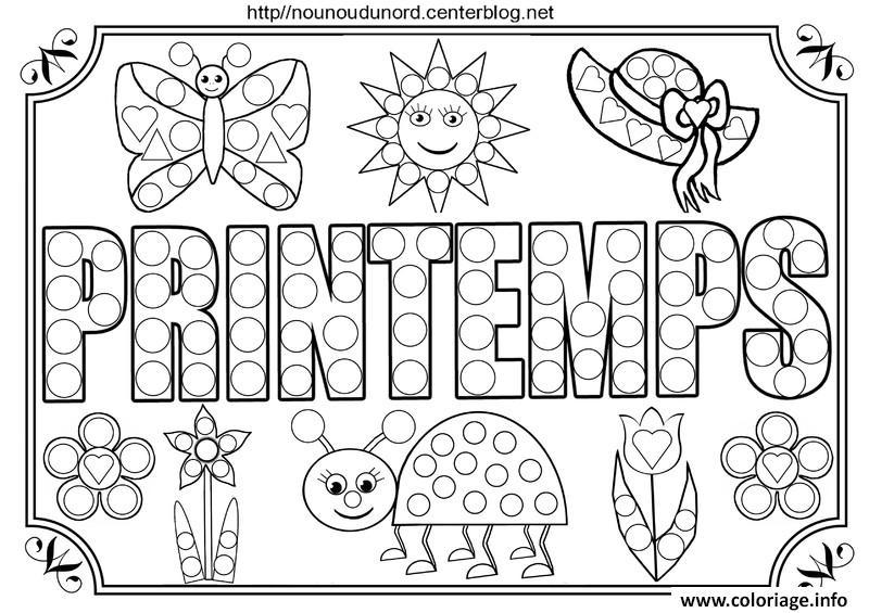 Coloriage Printemps Gratuit.Coloriage Printemps Tableau A Colorier Et Pour Gommettes