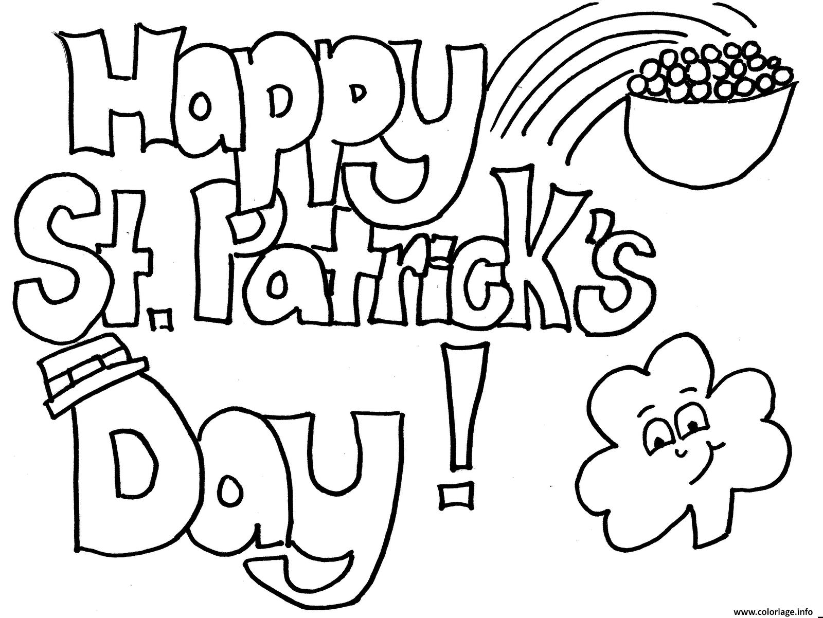 coloriage interesting saint patrick happy dessin gratuit