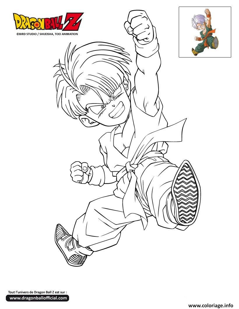 Coloriage dbz trunks enfant dragon ball z officiel dessin - Modele dessin dragon ...