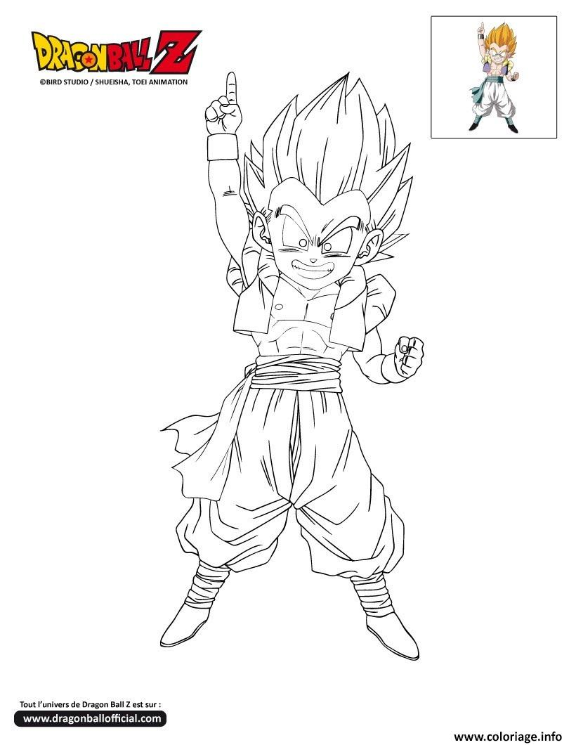 Coloriage dbz gotenks sur le point de frapper dragon ball - Modele dessin dragon ...