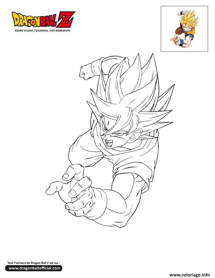 Coloriage dbz goku passe a l attaque dragon ball z - Dessin de dragon ball za imprimer ...