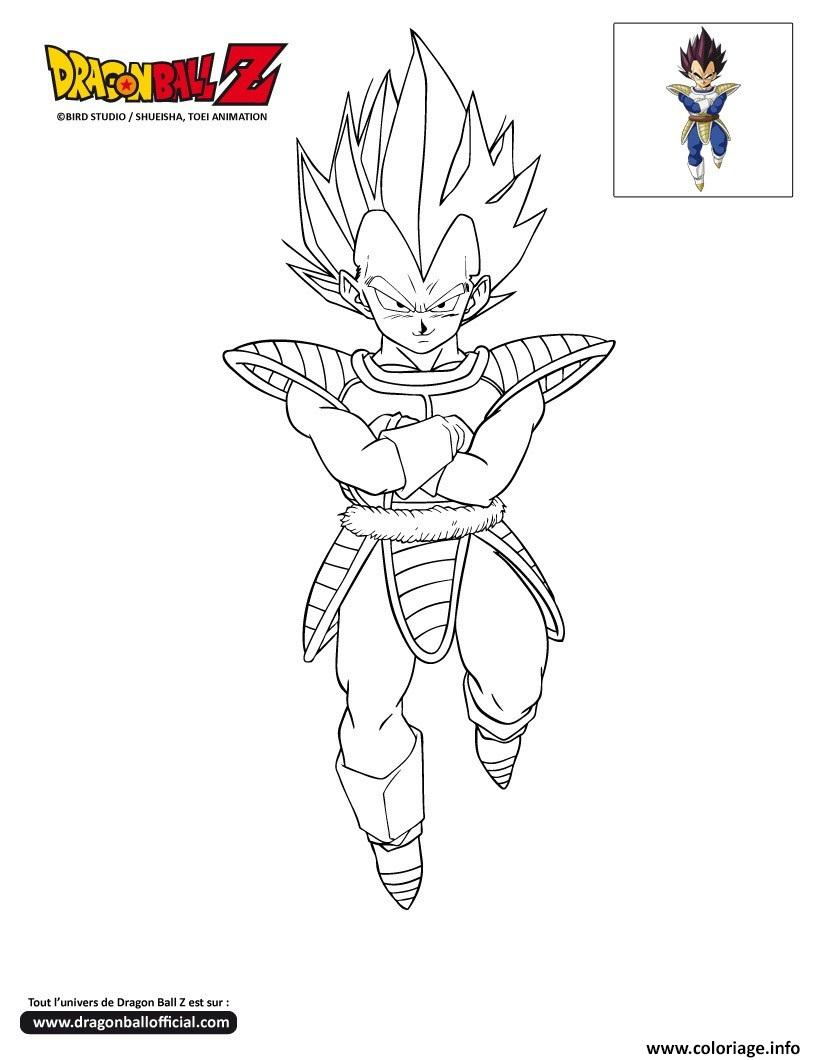 Coloriage dbz vegeta dragon ball z officiel dessin - Dessin dragon ball z facile ...