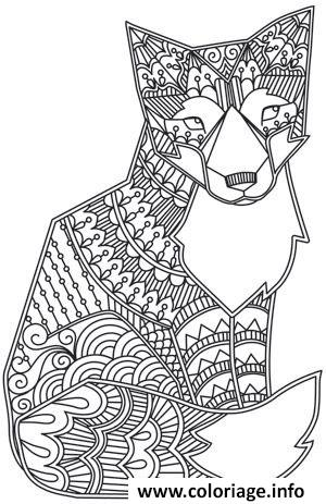Coloriage adulte animaux renard - Coloriage de renard ...