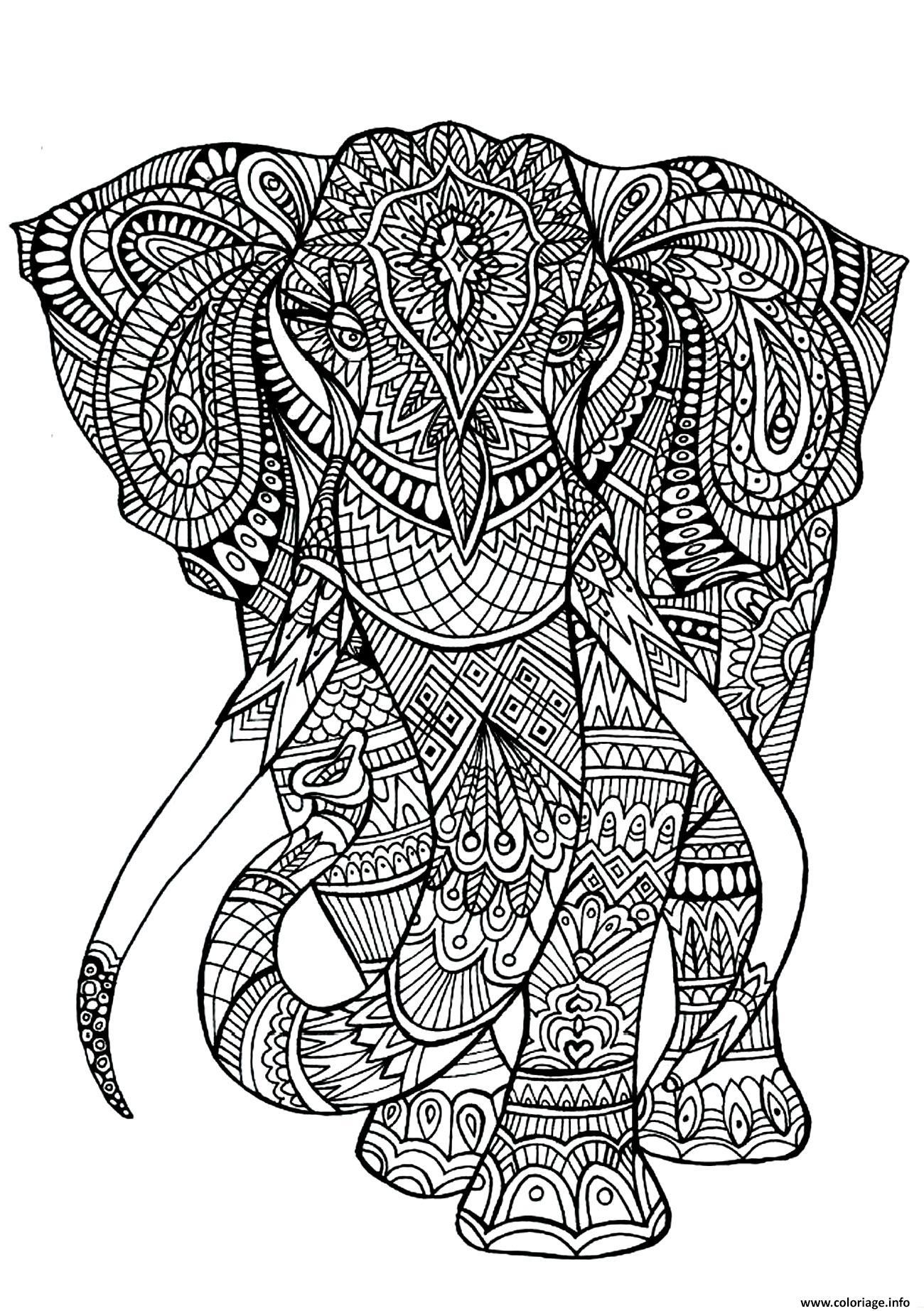 Coloriage Adulte Anima Gros Elephant dessin