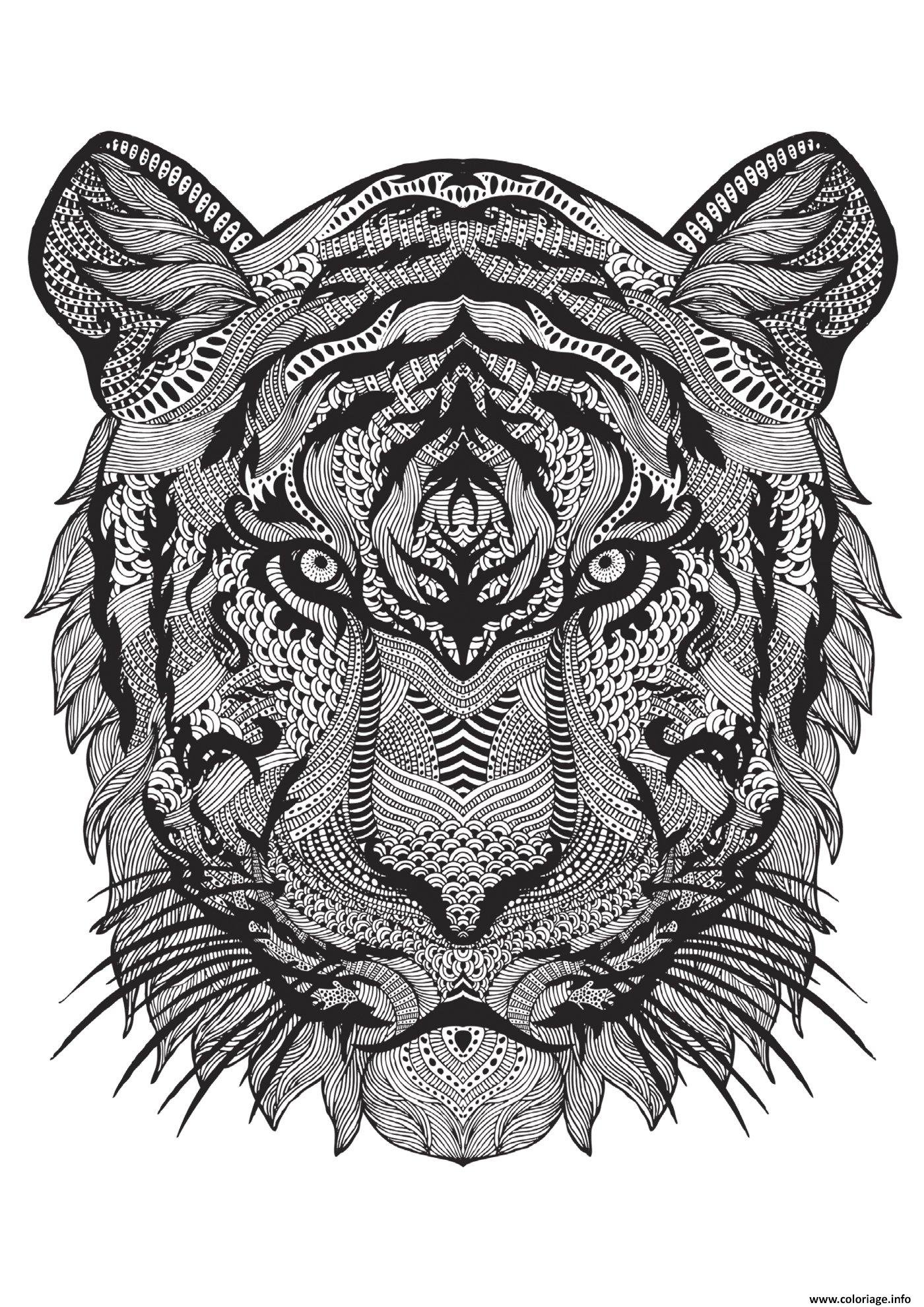 Coloriage adulte animal tigre difficile antistress - Mandalas de tigres ...