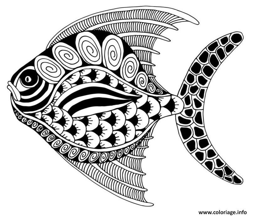 Coloriage adulte poisson animaux marin - JeColorie.com