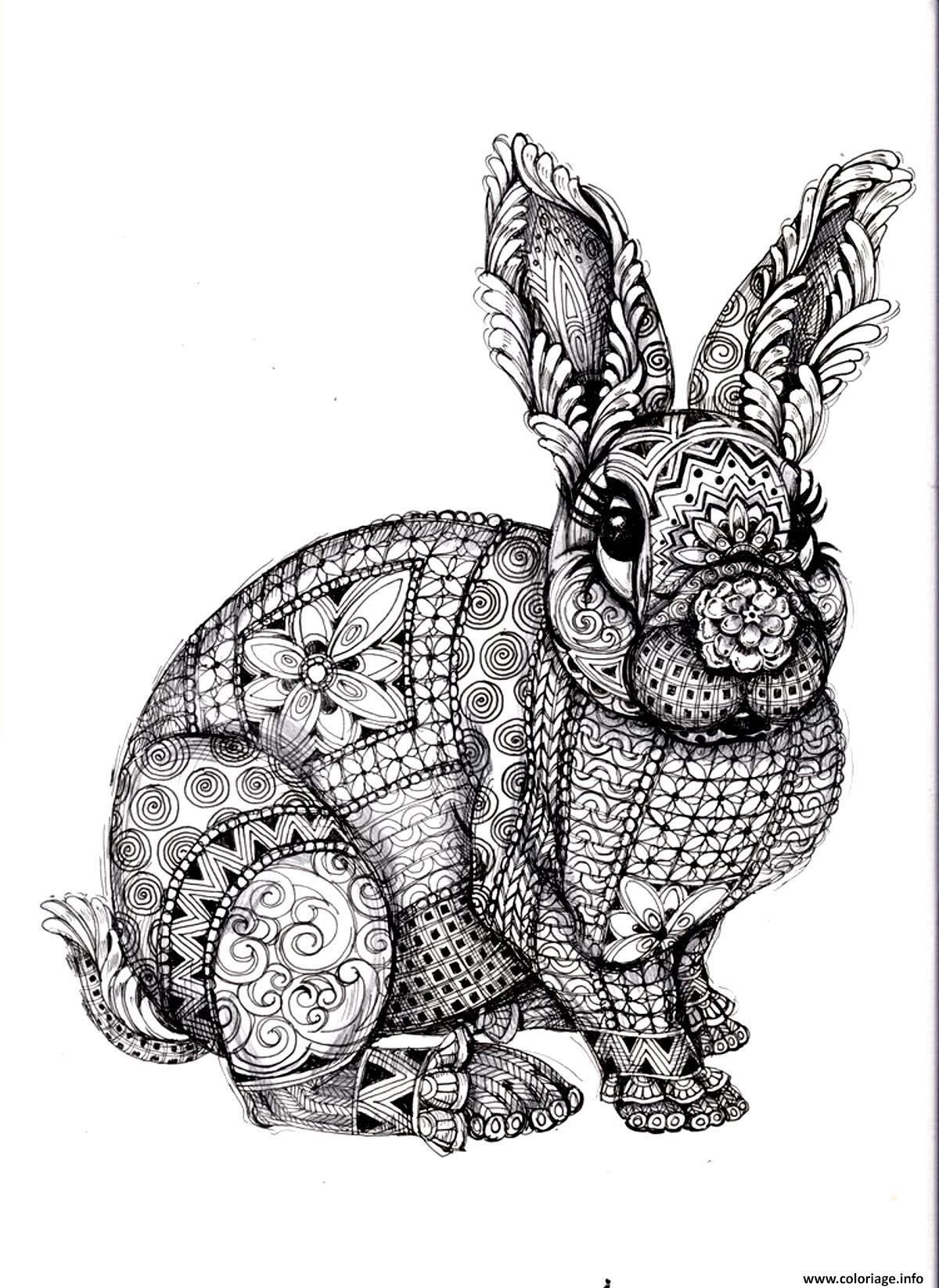 Coloriage adulte difficile lapin dessin - Coloriage adulte difficile ...