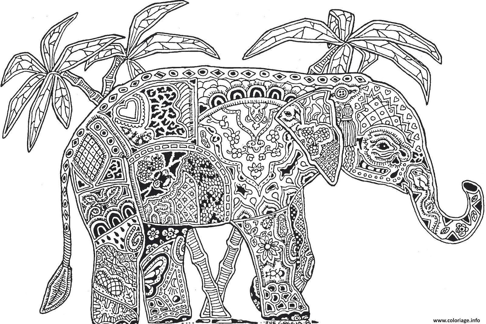 Coloriage A Imprimer Difficile Elephant.Coloriage Adulte Animaux Elephant Difficile Jecolorie Com