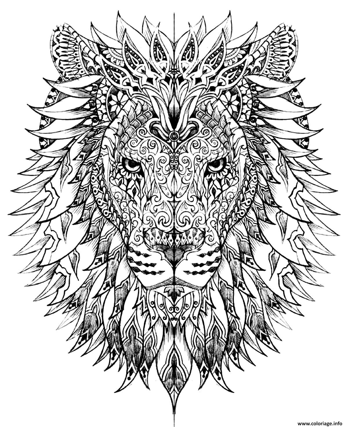Coloriage adulte difficile tete lion dessin - Coloriage difficile a colorier ...