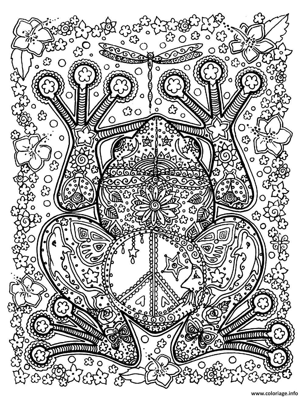 Coloriage adulte animaux grenouille motifs dessin - Grenouille a colorier ...