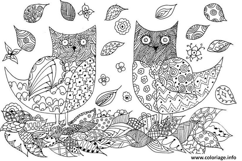 Coloriage animaux adulte hiboux feuilles automne dessin - Feuille automne dessin ...