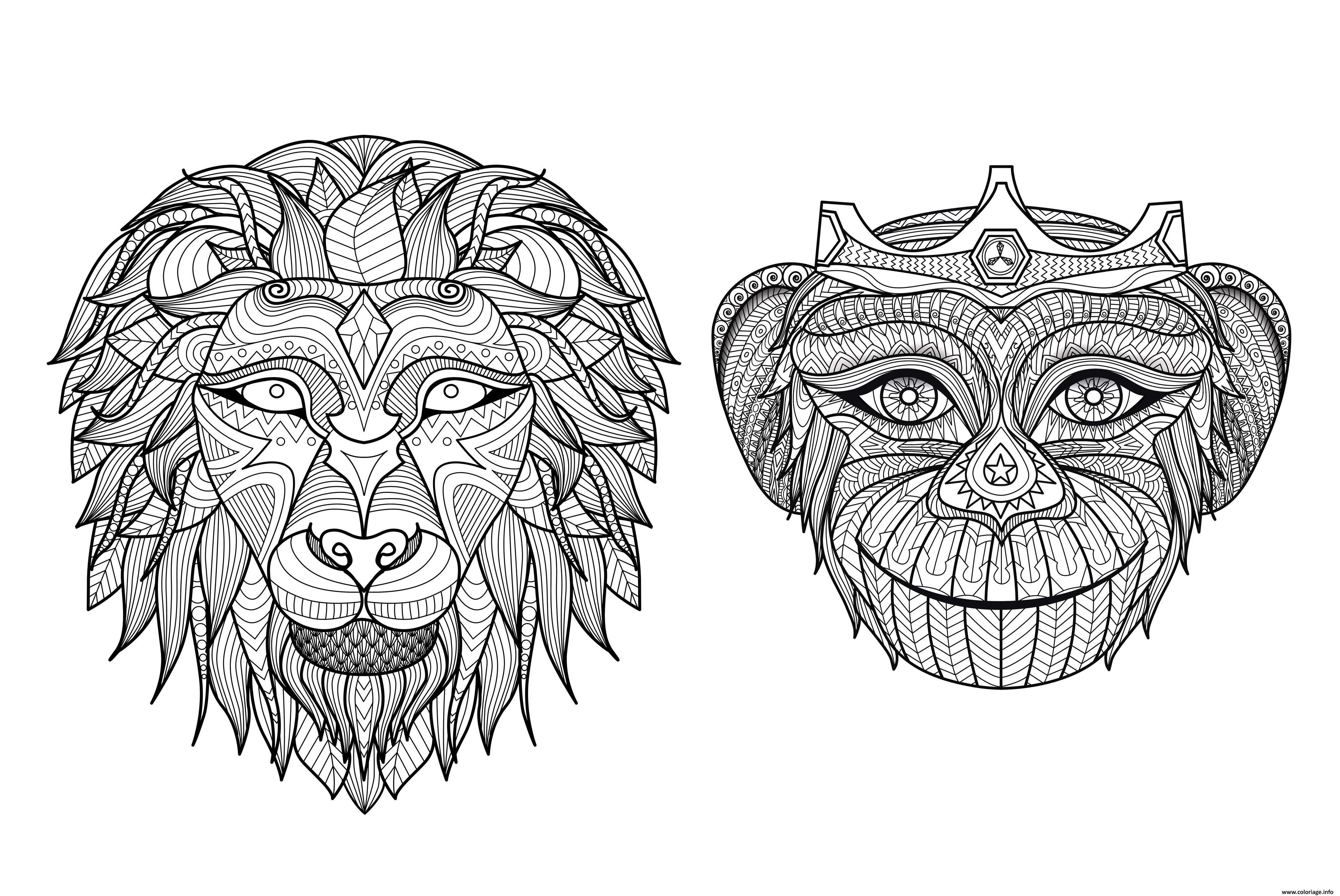 Coloriage Adulte Singe.Coloriage Adulte Tetes Singe Lion Jecolorie Com