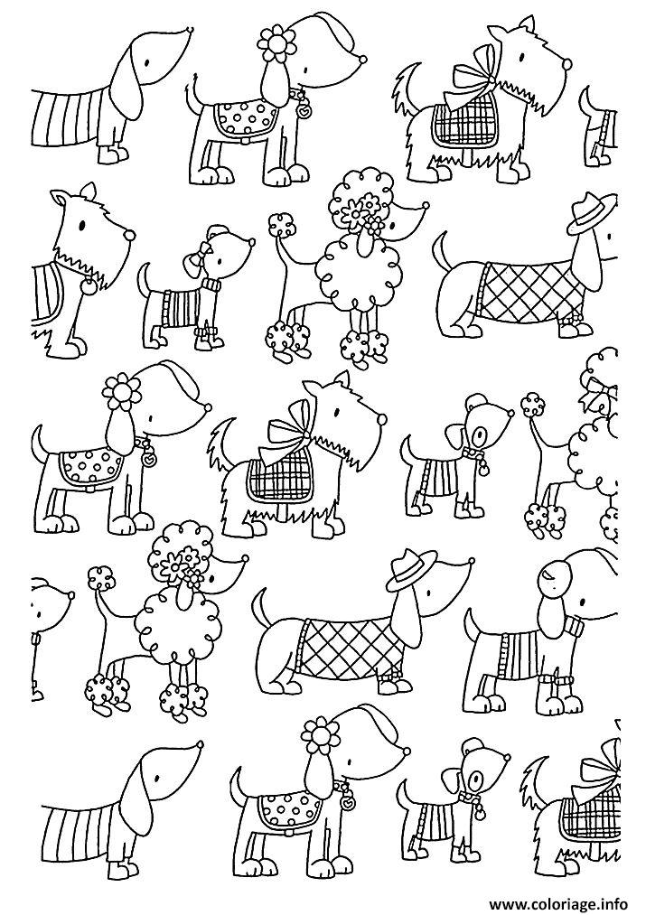 Coloriage adulte difficile chiens elegants - Coloriage adulte difficile ...
