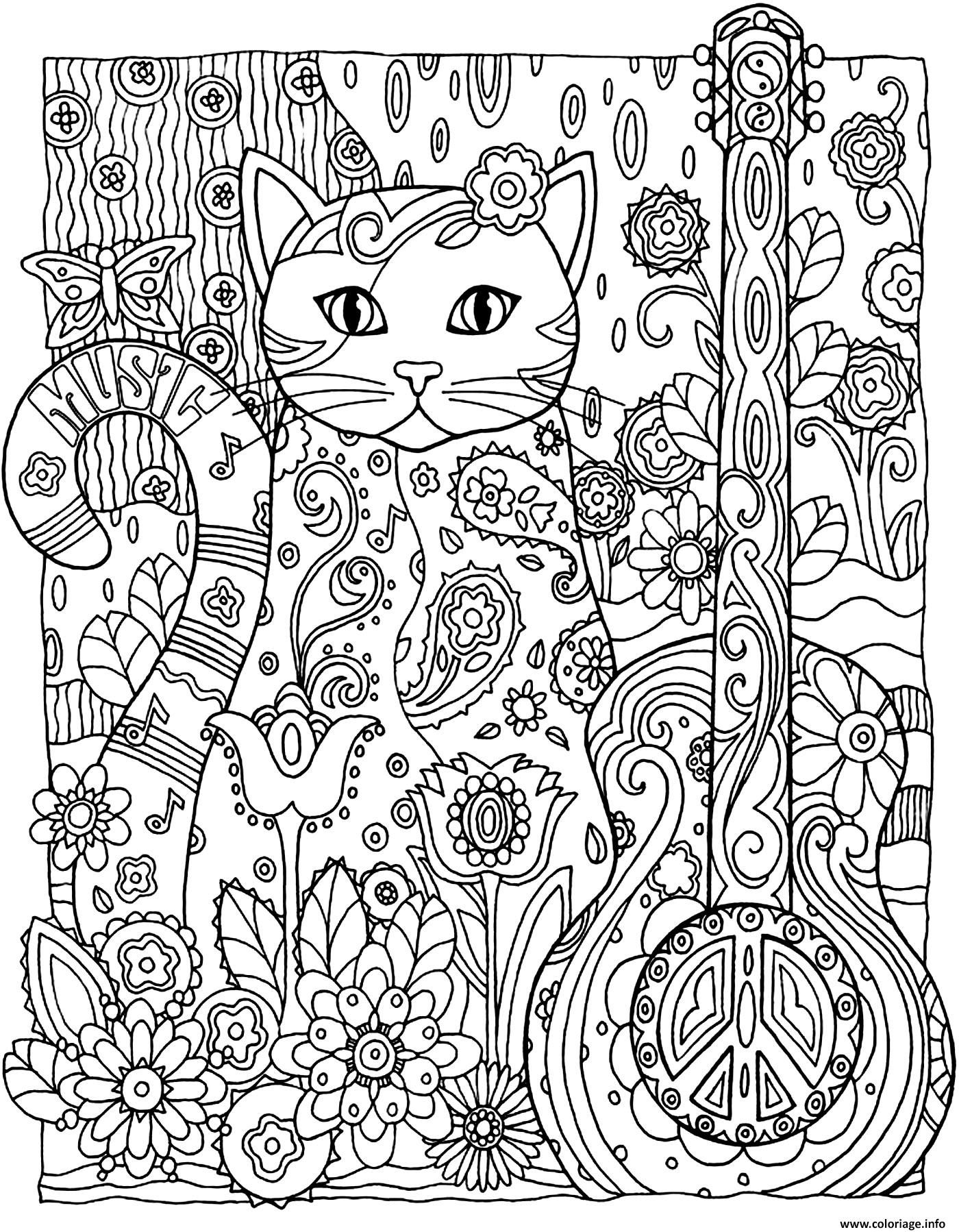 Coloriage Adulte Animaux Chat Guitare Jecolorie Com