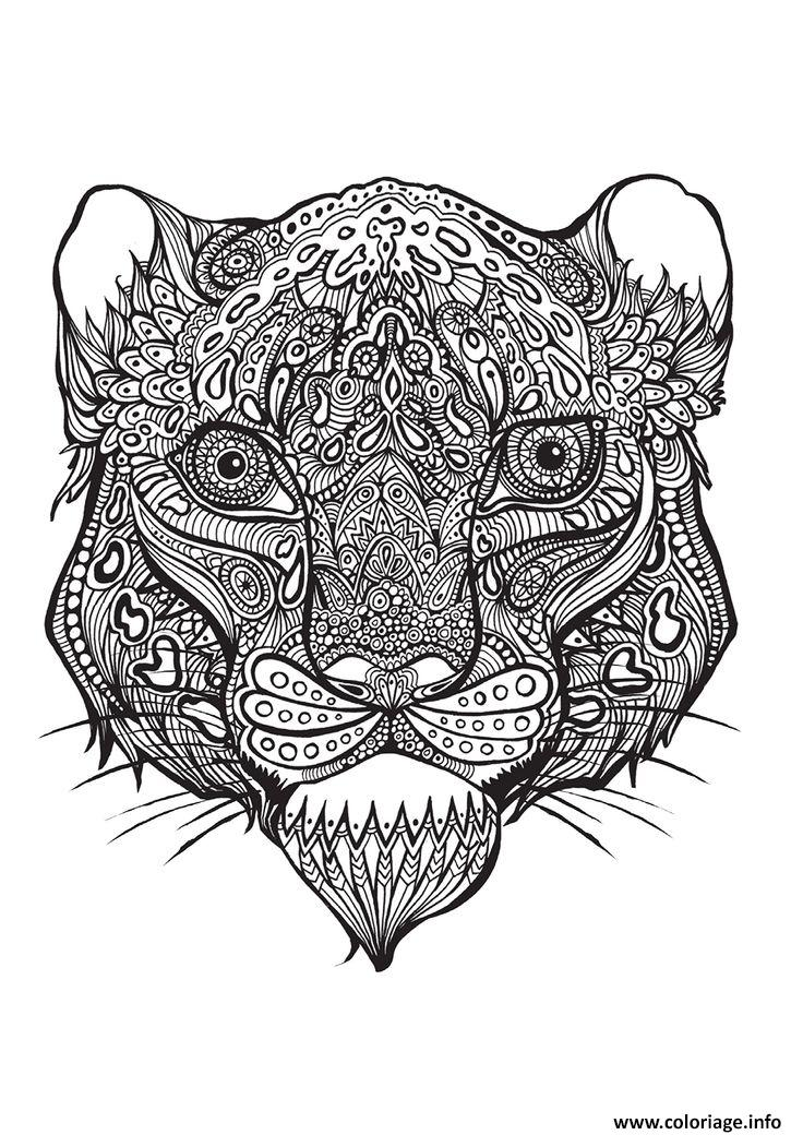 Coloriage petit tigre adulte animaux zentangle dessin - Mandalas de tigres ...