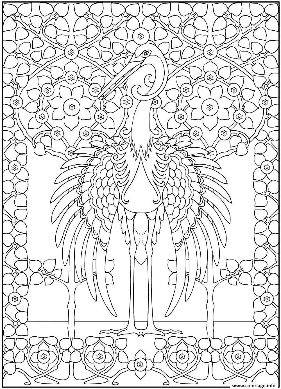 coloriage adulte grand heron majestueux dessin imprimer - Coloriage De Grand