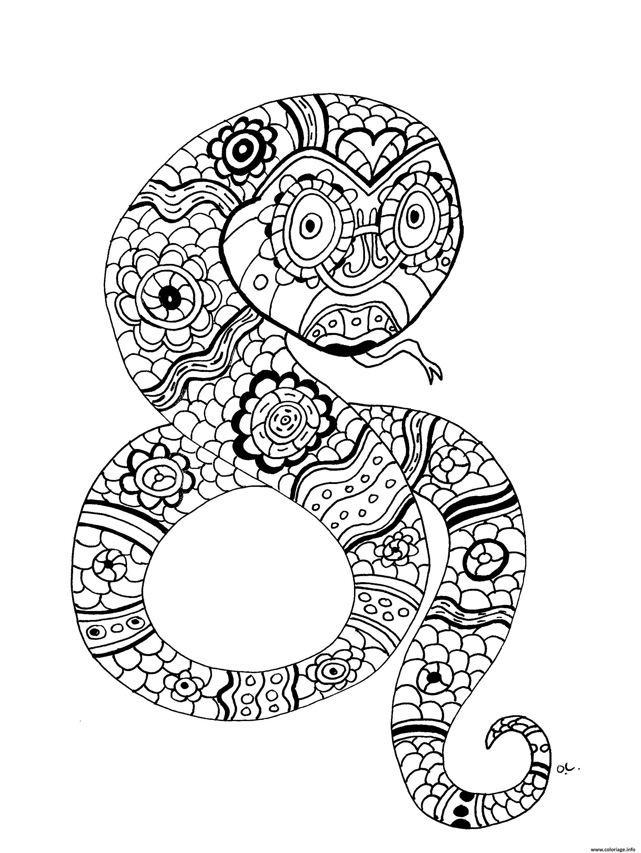Coloriage Animaux Serpent.Coloriage Adulte Le Serpent Par Olivier Dessin