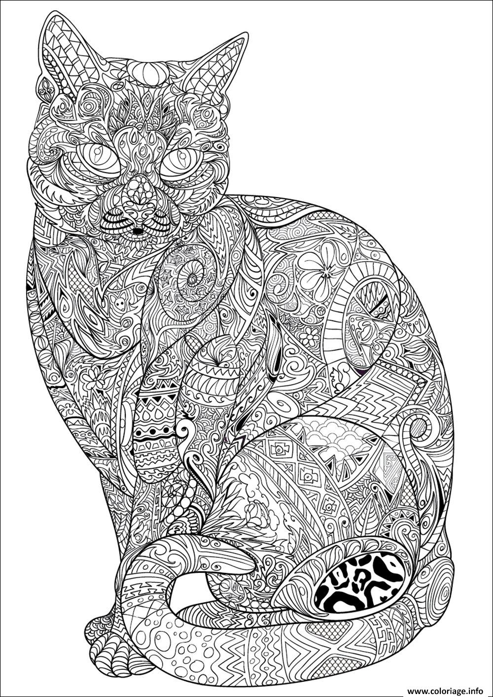 Coloriage chat adulte difficile antistress animaux - Dessins anti stress ...