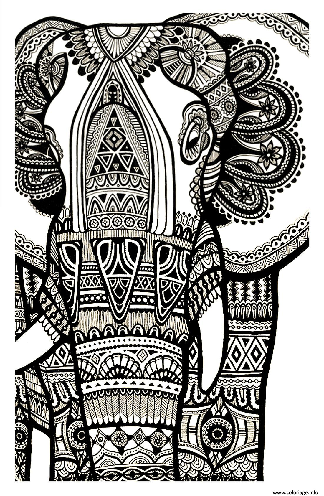 Coloriage Elephant Mandala A Imprimer Gratuit.Coloriage Elephant Gratuit Adulte Dessin