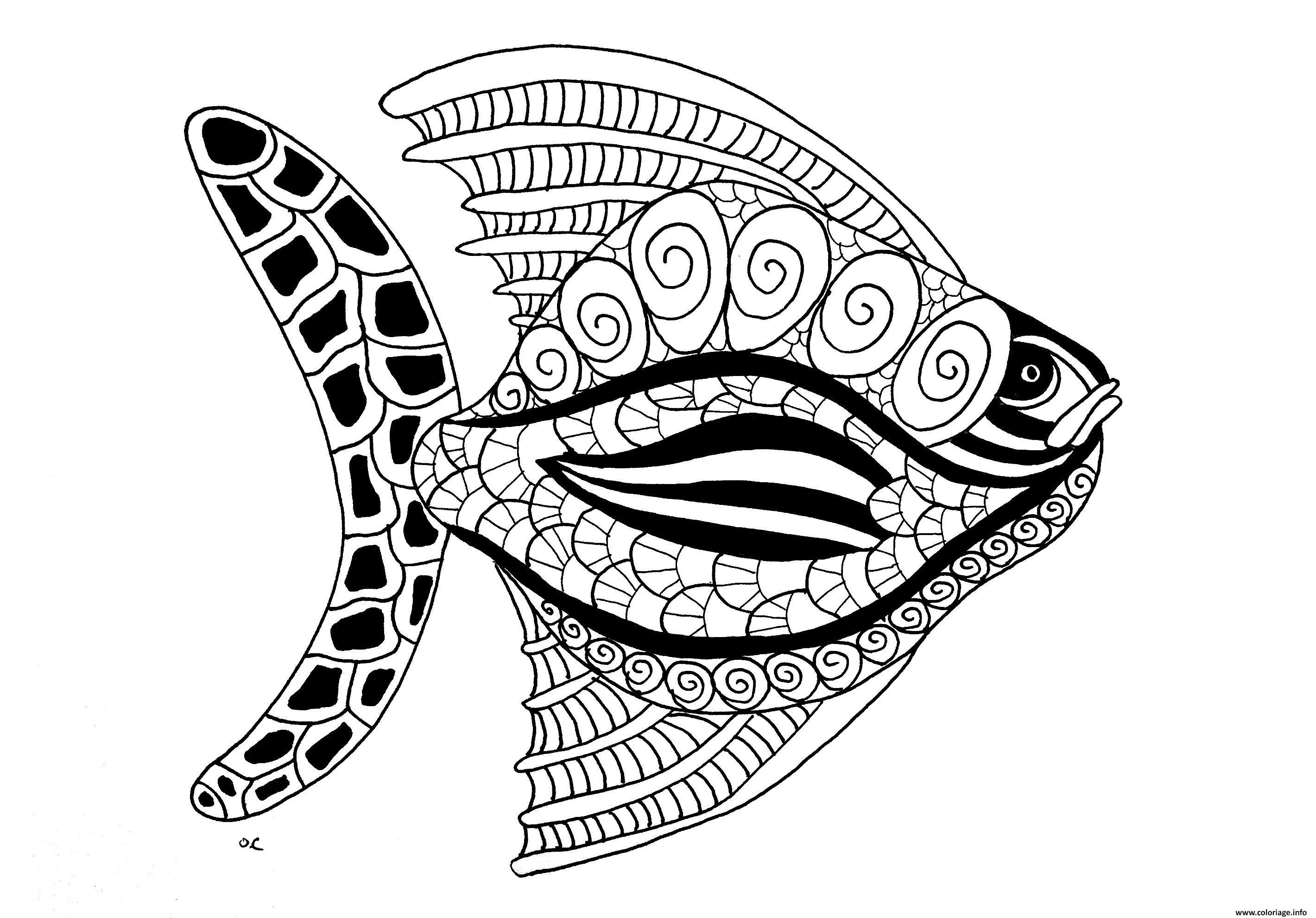 Coloriage poisson animaux fish ocean dessin - Coloriage de poisson a imprimer ...