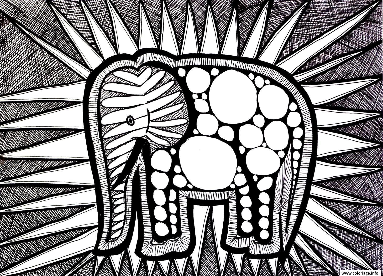 Coloriage A Imprimer Difficile Elephant.Coloriage Difficile Elephant Jecolorie Com