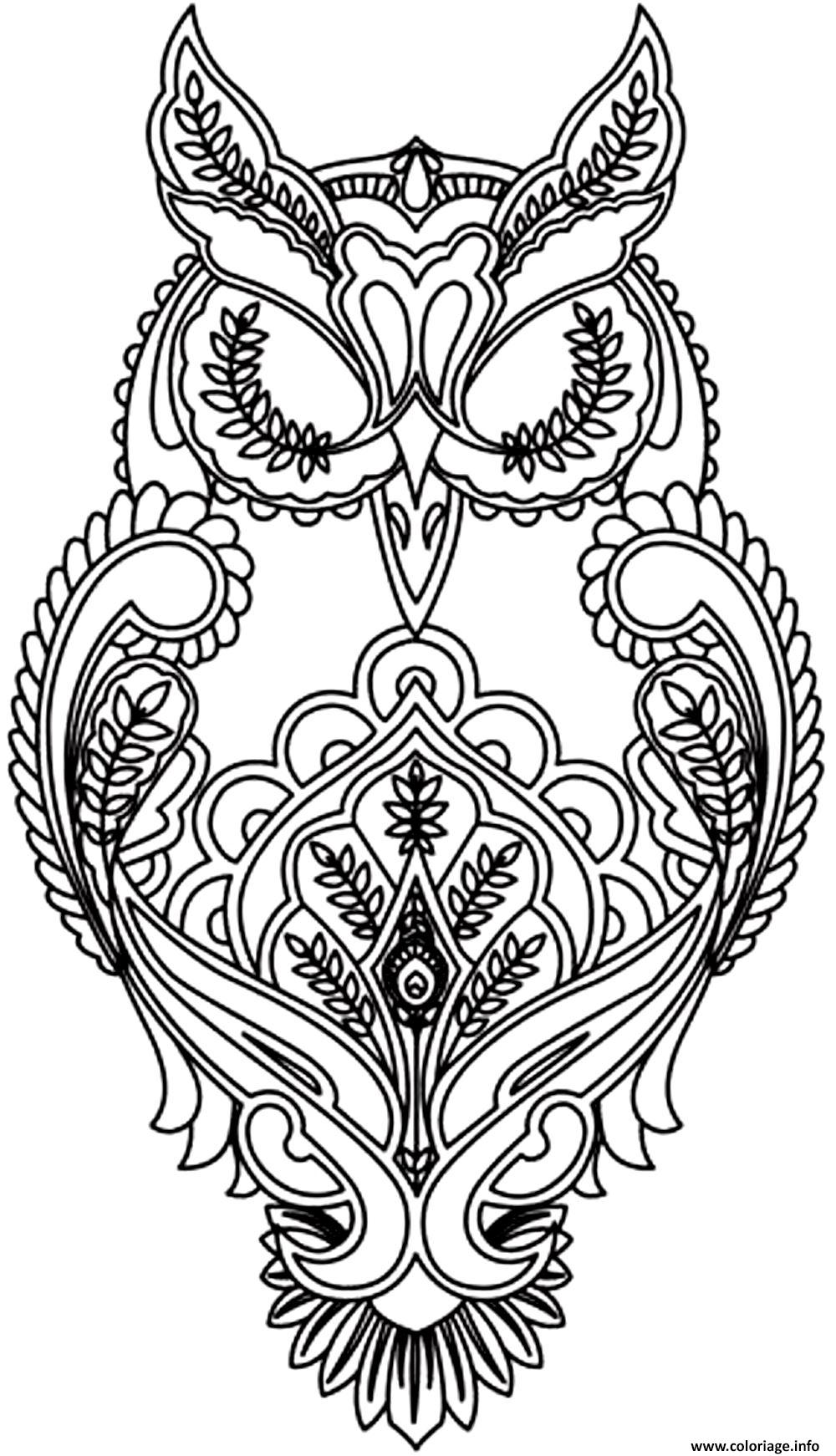 adulte difficile hibou coloriage