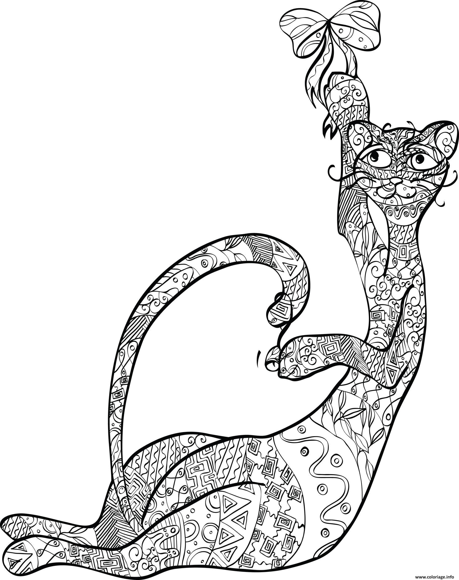 Coloriage Anti Stress Animaux A Imprimer Gratuit.Coloriage Adulte Anti Stress Animaux Chat Dessin