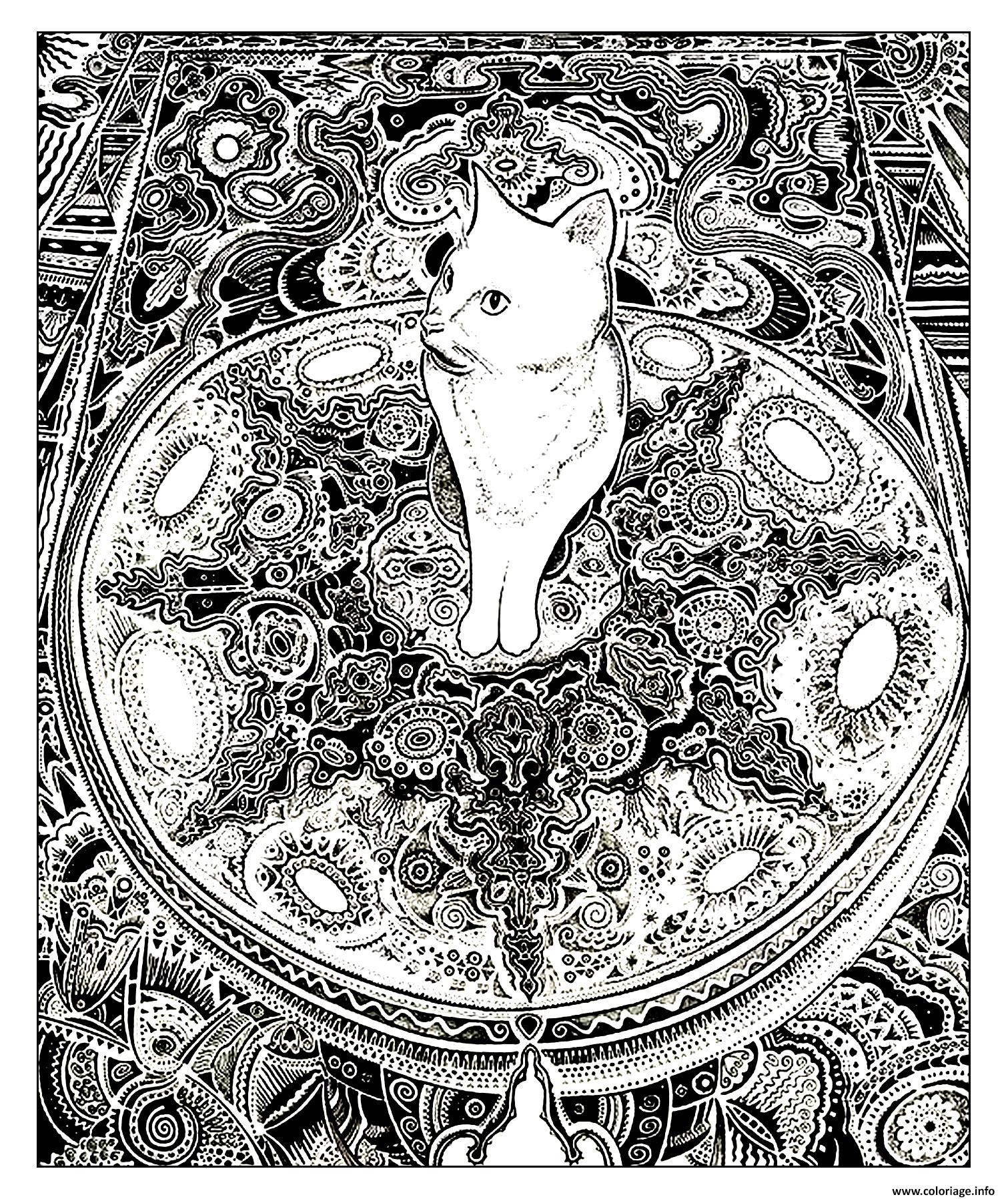 Coloriage adulte animaux chat tapis dessin - Chat a colorier adulte ...