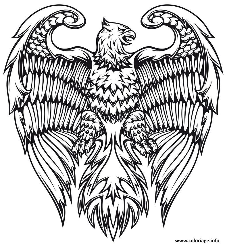 Coloriage Animaux Oiseaux.Coloriage Adulte Animaux Fantastiques Aigle Oiseau Jecolorie Com