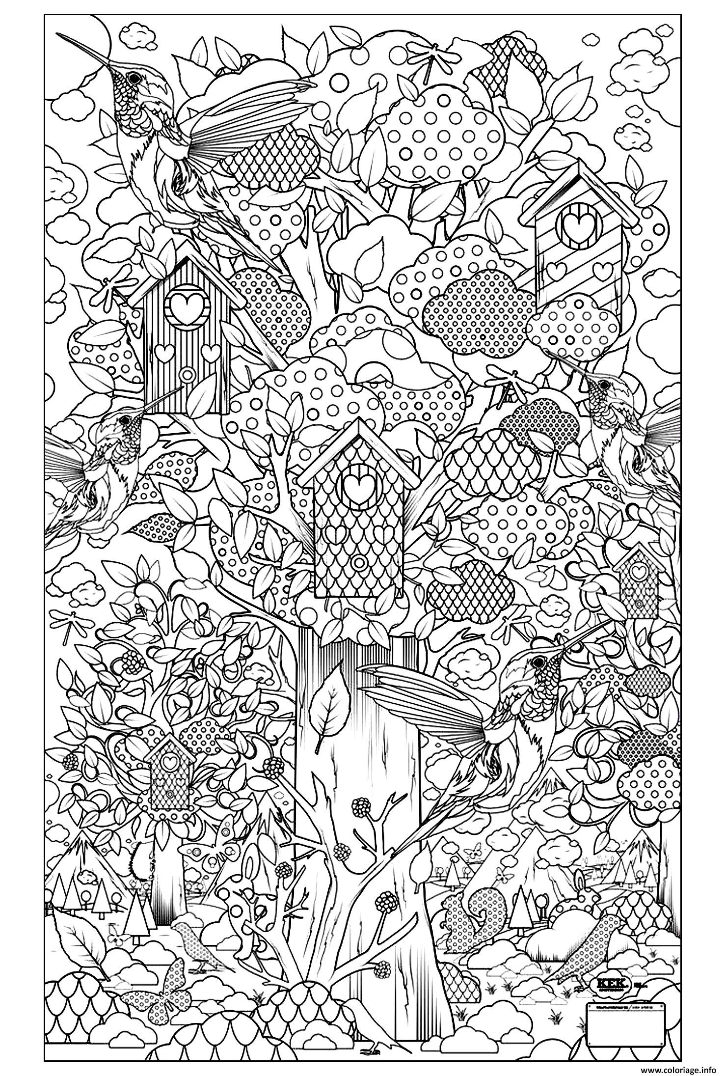 Coloriage adulte animaux oiseaux cabane dessin - Coloriage de cabane ...