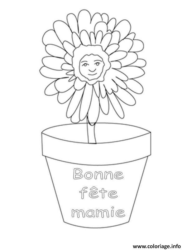 Coloriage bonne fete grand mere mamie dessin - Grand dessin a colorier ...