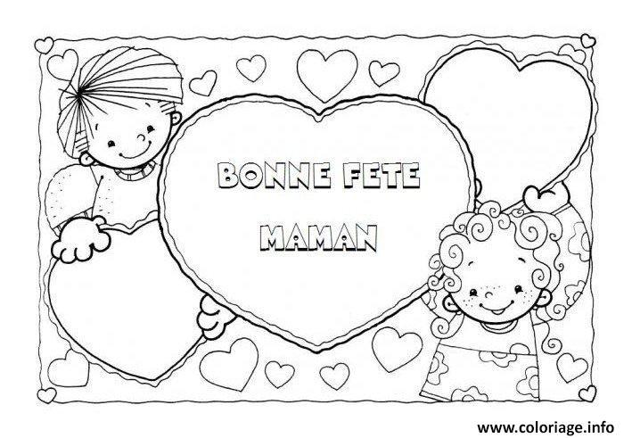 Coloriage carte image fete des meres enfant dessin - Bonne fete maman a imprimer ...