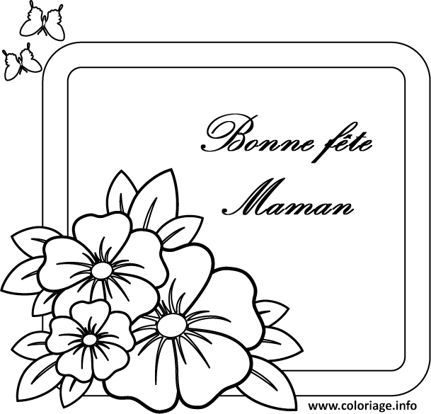 Coloriage carte simple bonne fete maman dessin - Coloriage fete des grand mere ...