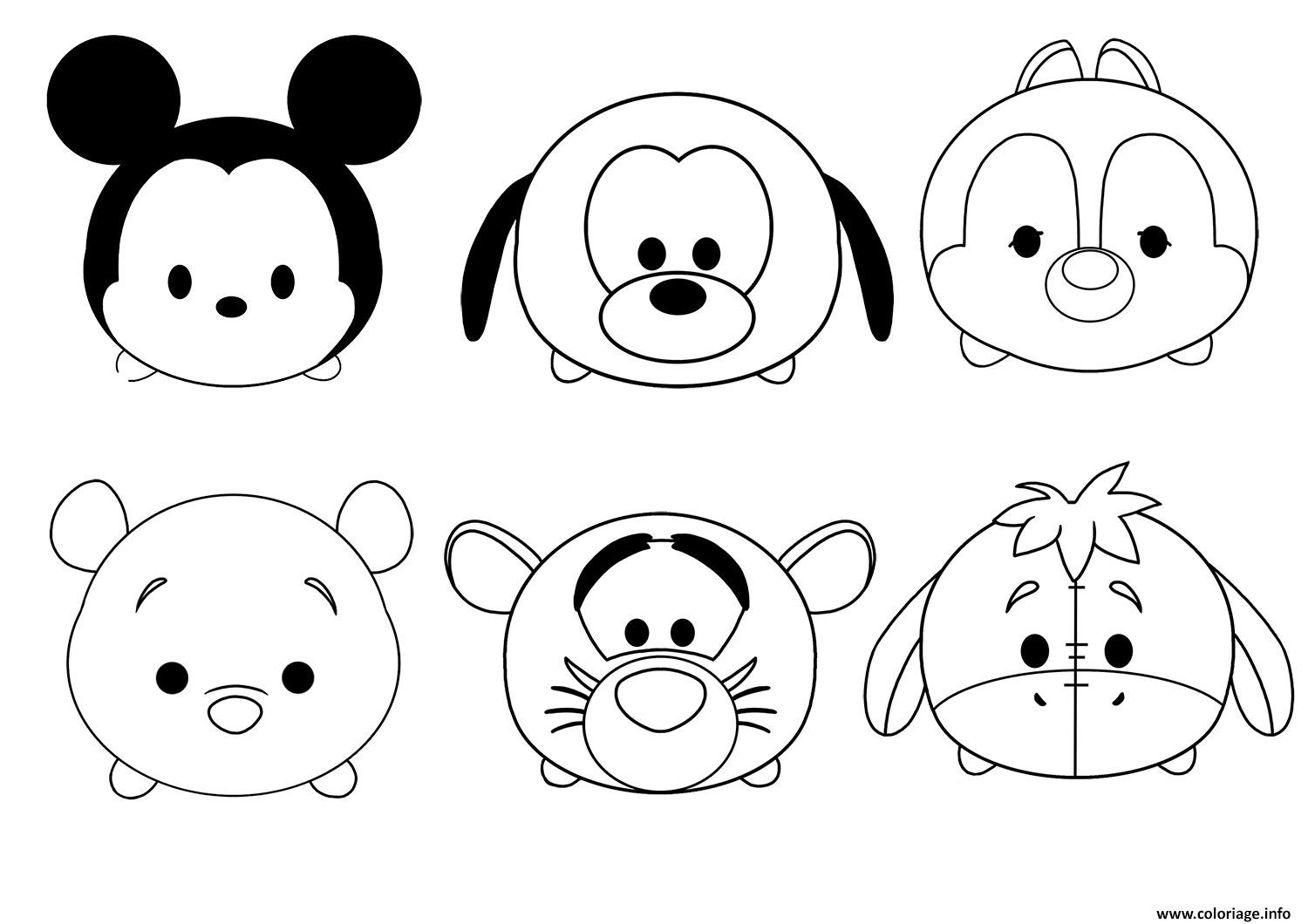 Coloriage tsum tsum disney facile enfant simple dessin for Tsum tsum coloring pages