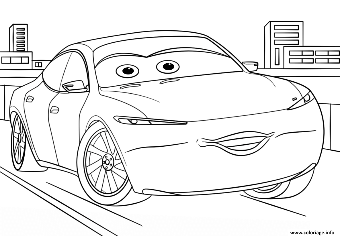 Dessin natalie certain from cars 3 disney Coloriage Gratuit à Imprimer