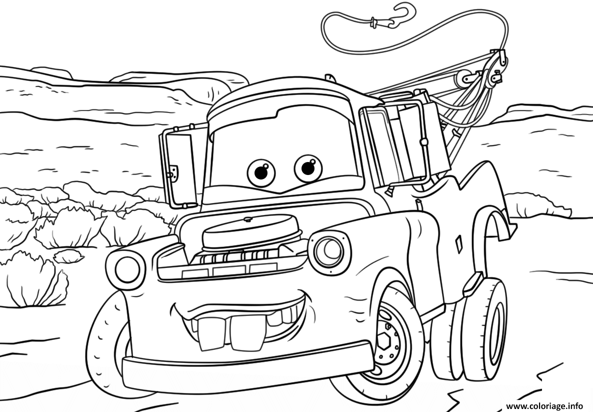 Coloriage tow mater from cars 3 disney dessin - Car coloriage ...