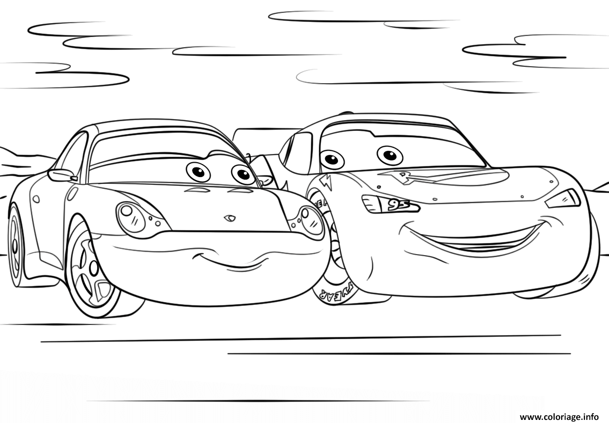 Coloriage lightning mcqueen and sally from cars 3 disney for Cars 3 coloring pages